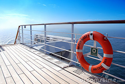 Sun-soaked deck of QM 2