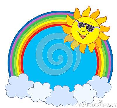 Sun in sunglasses in rainbow circle