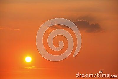 Sun in sunset sky