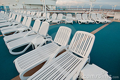 Sun tanning chairs on deck