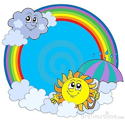 Sun und Wolken im Regenbogenkreis