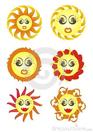 The sun (variants). Vector images