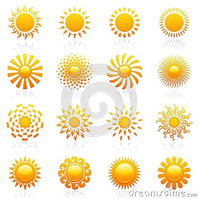 Sun. Vector logo template set.