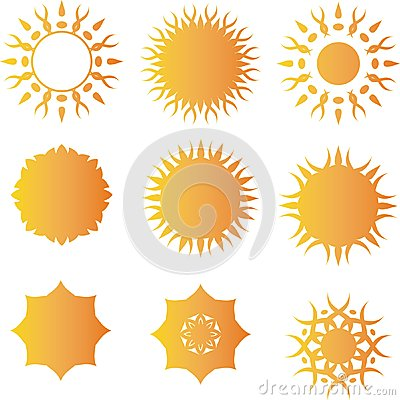 Sun-Vektorlogo-Schablonensatz