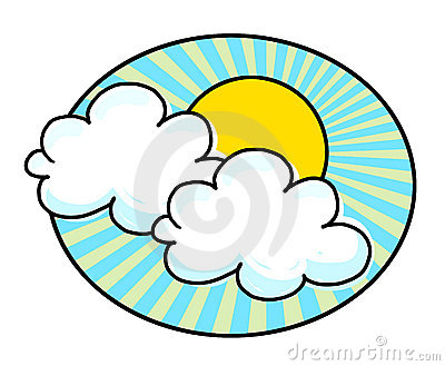 Sun and white clouds illustration