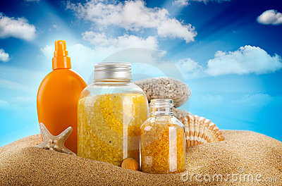 Sunbath - suntan oil and spa minerals