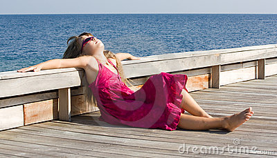 Sunbath on the wooden deck