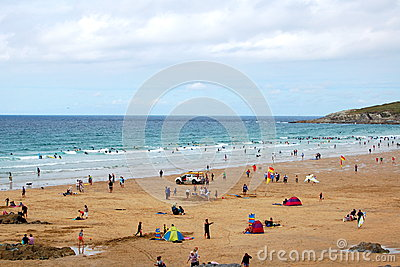 Sunbathers, Newquay beach, Cornwall Editorial Photo