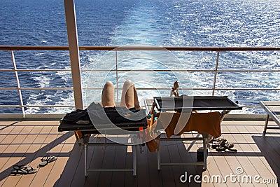 Sunbathing On The Deck Cruise Ship Stock Photo - Image ...