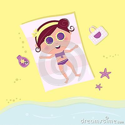Sunbathing girl on beach