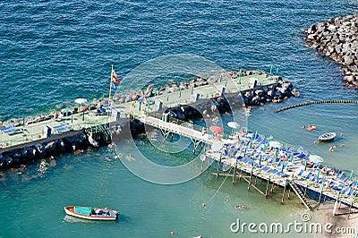 Sunbathing on a pier