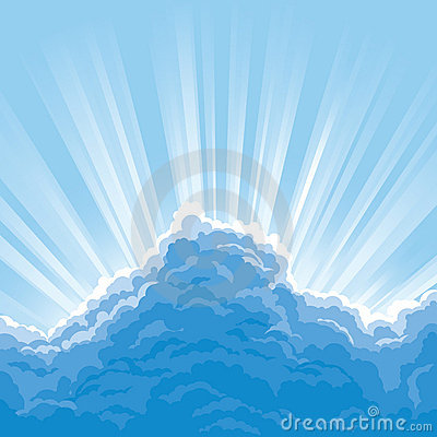 Sunbeam behind clouds