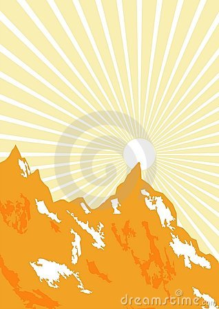 Sunbeam and mountains graphic