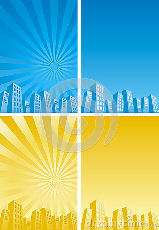 Sunbeam skyscrapers silhouette background