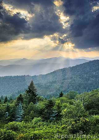 Sunbeams Light Rays Over Appalachian Blue Ridge