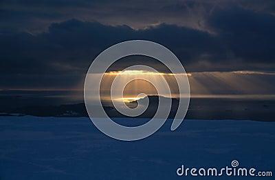 Sunbeams onto Sea Ice