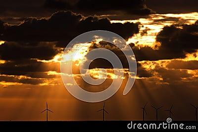 Sunbeams over a windfarm