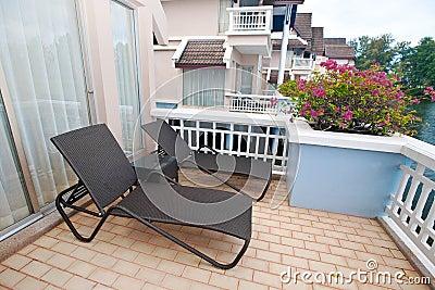 Sunbed on a tropical terrace