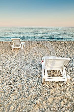 Sunbeds on a beach
