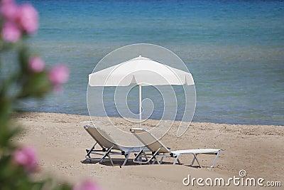 Sunbeds on the beach in Greece, Zakynthos
