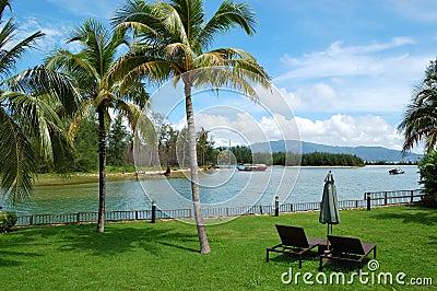 Sunbeds at lawn of luxury villa