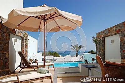 Sunbeds at the luxury villa