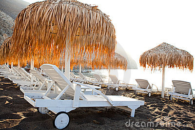 Sunbeds in Perissa, Santorini, Greece