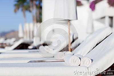 Sunbeds at the resort