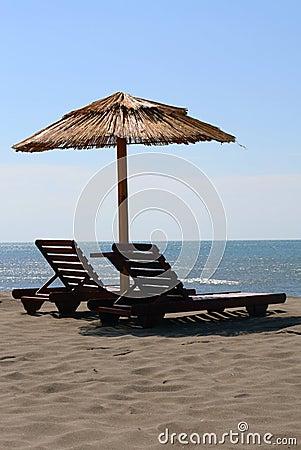 Sunbeds on the sea