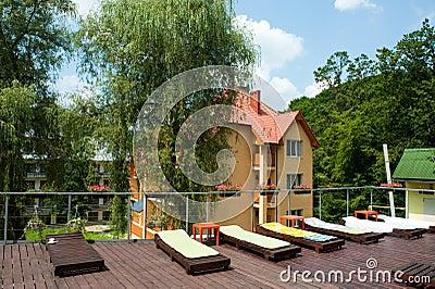 Sunbeds on terrace
