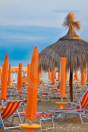 Sunbeds And Umbrellas On The Beach Royalty Free Stock Image - Image: 10764806