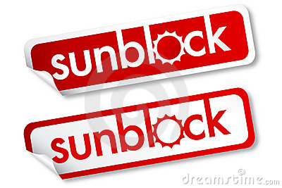 Sunblock stickers Vector Illustration