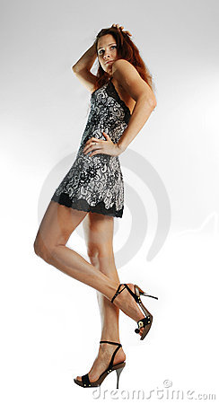 Free Sunburnt Model In Short Lacy Dress Royalty Free Stock Photography - 4626197