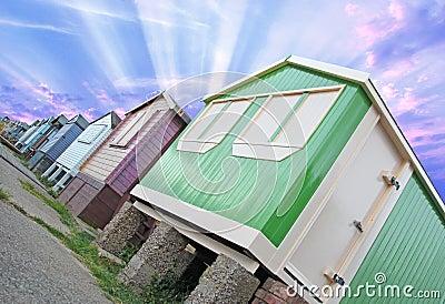 Sunburst beach huts