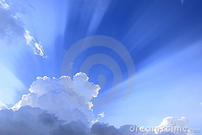 Sunburst light over clouds