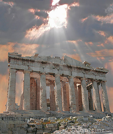 Sunburst Over The Acropolis Royalty Free Stock Photography - Image: 2413617