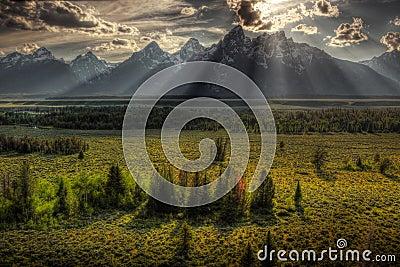 Sunburst over Grand Tetons