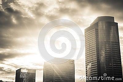 Sunburst over high rise buildings