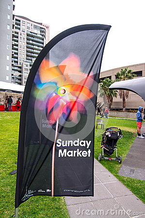 Sunday Market Flag Melbourne Arts Centre Editorial Photo