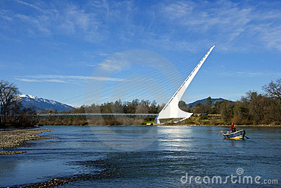 Sundial Bridge Fishing Editorial Photography