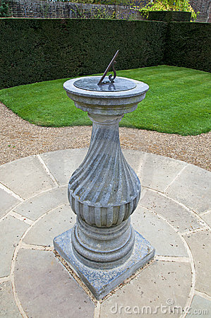 Sundial in a formal garden