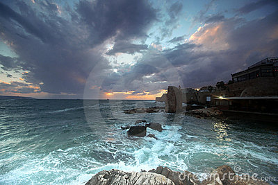 Sundown At City Of Acre, Israel Stock Image - Image: 17009901