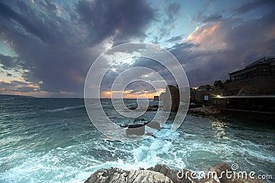 Sundown at city of Acre, Israel