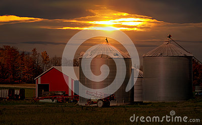 Sundown on a farm