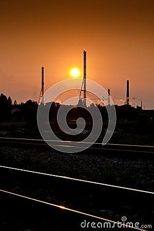 Sundown over the factory