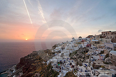 Sundown of Santorini island