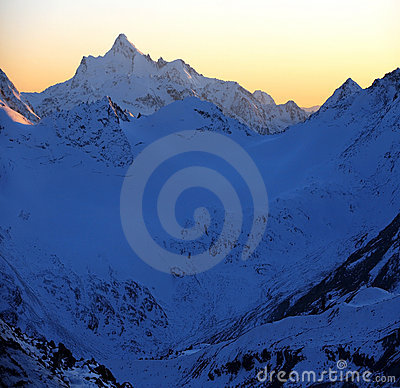 Sundown in snowy mt,Elbrus area, Northern Caucasus