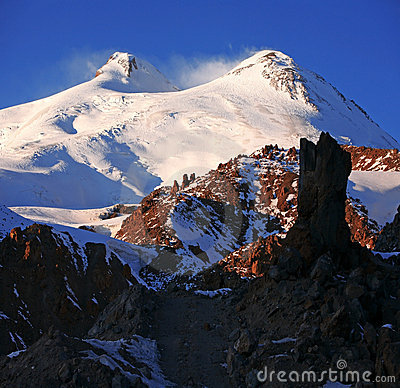 Sundown in snowy mt Elbrus, Northern Caucasus