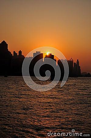Sundown in Victoria habor, Hongkong