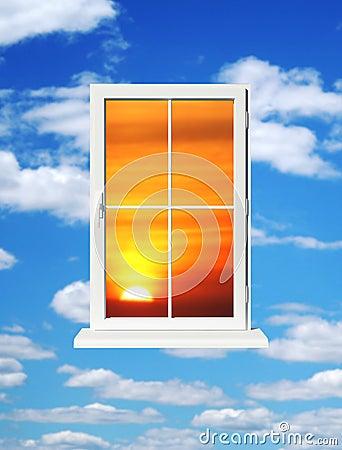 Sundown in window